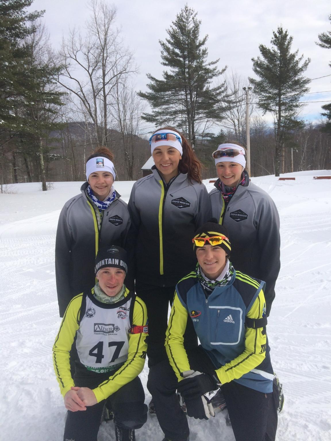 Team CMBC at US Biathlon Nationals.  Madison Tinker, Rylie Garner, Katherine Gruner, Christian Bjorklund and Jake Pearson.